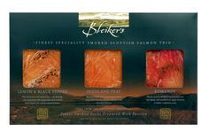 Three of our most loved smoked salmon in one convenient pack includes:-     • HighlandPeat Smoked Scottish Salmon (100g)  • Lemon & Pepper Smoked Scottish Salmon (100g)  • Applewood Smoked Romanov (100g)