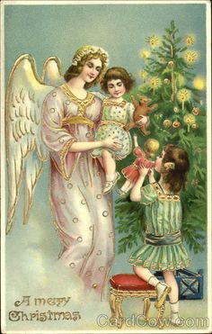 Angel and Children Gold A Merry Christmas Series 3161 H