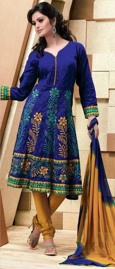 Royal #Blue Readymade #Cotton Jacquard #Churidar #Kameez @ $75.00 | Shop @ http://www.utsavfashion.com/store/sarees-large.aspx?icode=kbp564