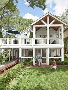 HGTV Magazine shows how one couple transformed their drab backyard into an exceptional double-porch sanctuary.