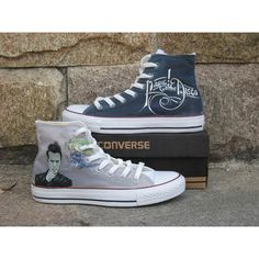 panic at the disco shoes Converse shoes Custom Converse leisure shoes... ($91) ❤ liked on Polyvore featuring shoes, sneakers, print shoes, waterproof shoes, converse shoes, water proof shoes and lucite shoes