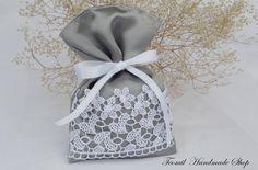 結婚式の好意、レース結婚式銀ありがとう ☆ バッグ、グレー結婚式ギフト袋セット 25