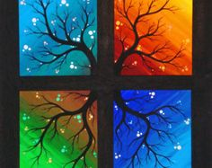 Print Season Spring Summer Fall Autumn Winter Rainbow Fantasy TREE Surreal Nature Reproduction by Natalie VonRaven Small Canvas Art, Art Painting, Tree Painting Canvas, Seasons Art, Tree Art, Painting, Amazing Art Painting, Painting Art Projects, Diy Canvas Art