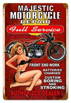 Vintage and Retro Wall Decor - JackandFriends.com - Vintage Majestic Repair  - Pin-Up Girl Metal Sign, $39.97 (http://www.jackandfriends.com/vintage-majestic-repair-metal-sign/)