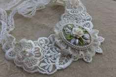 White cream vintage inspired victorian style lace by Virvi on Etsy