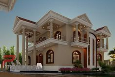 Panash Design Studio - Take a look of our best design list of Commercial Elevation Projects. 2 Storey House Design, House Design Photos, Bungalow House Design, Modern House Facades, Modern Bungalow House, Village House Design, Kerala House Design, House Outside Design, House Front Design