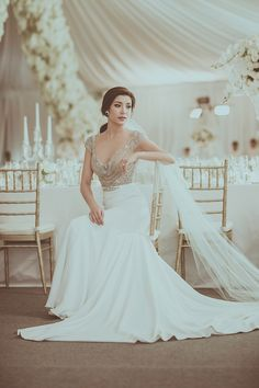 Thai celebrity Aimee Morakot in a bespoke gown with embellished bodice and sleek skirt // Grand Celebrity Wedding Where the Bride Wore Alon Livne