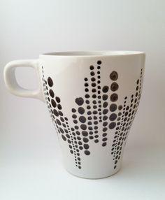 Hand-painted Coffee Mug - Black & White. $12.00, via Etsy.