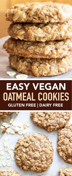 Easy Vegan Oatmeal Cookies GF a Simple recipe for the BEST Vegan Oatmeal Cookies Chewy moist centers with crispy caramel-y edges packed with comforting oatmeal Recipe at Vegan Oatmeal Cookies, Oatmeal Cookie Recipes, Healthy Cookies, Easy Vegan Cookies, Oatmeal Cookies With Applesauce, Easy Simple Cookies, Sugar Free Oat Cookies, Simple Oatmeal Cookies, Simple Vegan Cookie Recipe