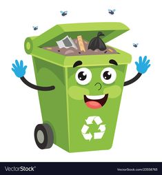 Of recycling bin vector image on VectorStock Recycling Facts, Recycling Bins, Cute Baby Cartoon, Kids Lying, Kids Going To School, Japanese Kids, Vip Kid, Kids Background, School Frame