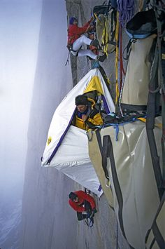 Rock on! >>Gordon Wiltsie: Rock climbing with tents: climbers hang off the sides of vertical cliffs sleeping in tents