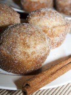 French Toast Muffins 1/3 c. butter, melted 1/2 c. sugar 1 egg 1 1/2 c. all-purpose flour 1 1/2 tsp. baking powder 1/2 tsp. salt 1/4 tsp. nutmeg 1/2 c. milk Bake 350 20-25 mins, makes 8-12 muffins. Dip warm muffins in melted butter, then cinnamon sugar.