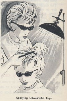From the Standard Textbook of Cosmetology, 1967. Illustrations by Warren Meek.......Wow look at those glasses!