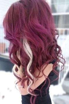 Raspberry colored dyed hair, love love love the white stripes. :)