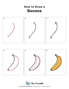 How to Draw a Banana Basic Drawing For Kids, Drawing Games For Kids, Drawing Lessons For Kids, Art Drawings For Kids, Flower Drawing Tutorials, Drawing Tutorials For Beginners, Fruits Drawing, Food Drawing, Kindergarten Drawing