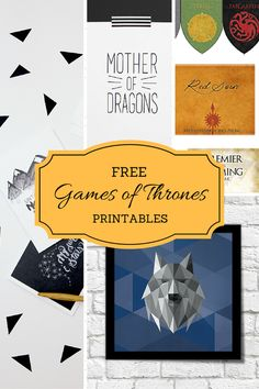 Free Games of Thrones Printables. Compiled by www.bolditup.com