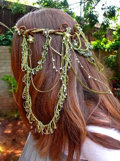 Lovely Bridal Elven Headdress- Elvish crown in Forest Greens, Moonstones and Fresh Water Pearls.  Beautiful
