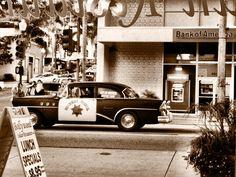 Blast from the past:  Vintage Police Car, Main Street, Ventura, California.  Looks like the corner of Main & California