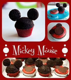 mickey mouse cupcakes - love the red liners, could add two white dots for buttons.