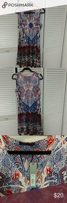 Apt 9 Dress Apt 9 knee length dress, bandana type pattern, v-neck with sequin accents. Burnt orange, navy and white. Apt. 9 Dresses Midi