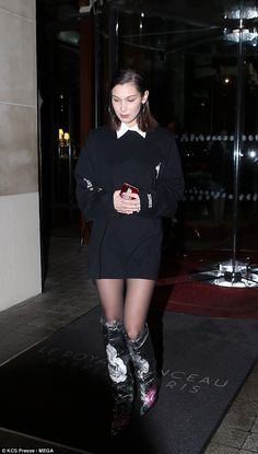 Super chic: Bella showed off her legs in in thigh-skimming shirtdress, which boasted a contrasting white collar and cuffs Bella Gigi Hadid, Bella Hadid Outfits, Bella Hadid Style, Fashion Vocabulary, Night Out, Celebs, Celebrities, Celebrity Style, Street Wear