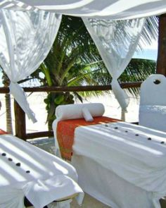 Treat yourself to an outdoor massage in Playa del Carmen, Mexico.