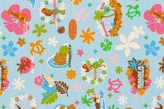 CAC0154 100% Cotton Fabric: All-Over Hawaiian Print Fabric