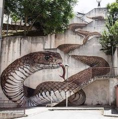 """The next level! Amazing Street art in Guarda, Portugal Artist: Sfhir"" Urban Environment, Banksy, Art Photography, Public Art, Art Images, Amazing Art, Sidewalk Art, Staircase Art, Street Art Photography"