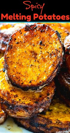 Melting Potatoes Spicy Melting Potatoes are crispy on the outside, creamy on the inside and have a spicy kick!Spicy Melting Potatoes are crispy on the outside, creamy on the inside and have a spicy kick! Side Dish Recipes, Veggie Recipes, Great Recipes, Vegetarian Recipes, Cooking Recipes, Healthy Recipes, Cooking Chef, Cuban Food Recipes, Savory Sweet Potato Recipes