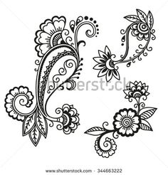 Find Henna Paisley Flowers Mehndi Tattoo Doodles Design- Abstract Floral Illustration Design Elements Stock Images in HD and millions of other royalty-free stock photos, illustrations, and vectors in the Shutterstock collection. Tatoo Henna, Henna Tattoo Designs, Henna Art, Mehndi Designs, Henna Patterns, Flower Patterns, Motifs Organiques, Mehndi Flower, Floral Illustration