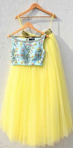 Yellow Lehenga & Blue Crop Top Set