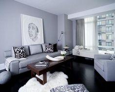 black hardwood floor and gray color scheme -- ?repaint living room walls