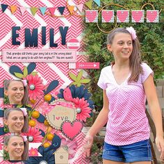 Our Emily is now a teenager!  :)  Can you tell that her favorite color is PINK?  We love this girlie! I used MOMENTS from Neia Arantes found here:  Moments-http://store.gingerscraps.net/Moments.html and a template from our September Guest Queen Wild Scraps found here:  http://store.gingerscraps.net/The-Big-Picture-Vol.-3.html