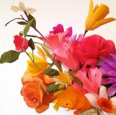 paper flower bouquet with corn husk flowers