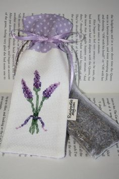 Handmade Cross stitch LAVENDER Sachet/Mini Bag/Great Gift: