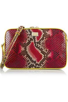 Dolce & Gabbana | Glam leather-trimmed python shoulder bag | NET-A-PORTER.COM