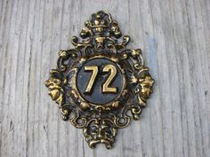 Vintage solid brass Door number 72 use for home decor by Luckytage, €13.00