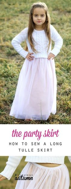 How pretty! How to sew a SOFT long tulle skirt that's perfect for a holiday party. My daughter would love one of these! Easy sewing tutorial.