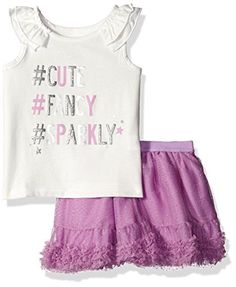 045f7d6df74 The Childrens Place Little Girls and Toddler Ruffle Skirt Set Violet Twist  5T    Click