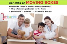 Benefits of Moving Boxes - Arrange the things in a safe and secure manner!!  •They offer more protection for the items •Inexpensive  •Flexible •Easy to pack and seal