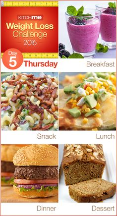 Day 5 Meal Plan Recipes – Weight Loss Challenge for Weight Watchers - Blackberry Peach Smoothie, BLT Pasta Salad, Copycat Applebee's Lowfat Veggie Quesedilla, Hamburgers, and Honey Spice Cake