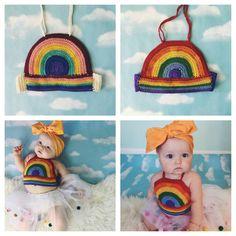 Vestido de arco iris niños Crop Top niñas por GoldenHandsDesign