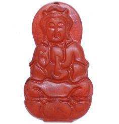 Marroon Chinese Old Jade Carved Sitting Lotus Seat Kwan-yin JingPing Pendant M42