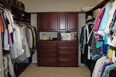 Chocolate closet with lots of storage and hanging Space Place, Custom Design, Home Decor, Stylish Storage Solutions, Custom Closets, Storage