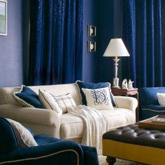 blue living room curtains paint chair navy cobalt royal blue leather cream neutrals lamp monogram pillow