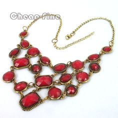 Fashion nice golden Jewelry red Irregular lot lump resin pendant chain Necklace US $9.99