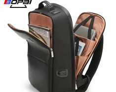 Discount This Month BOPAI USB Charge Backpack Men Leather for Travelling  Fashion Cool School Backpack Bags b3bd2609e59d8