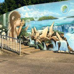 Mural by Wilo Welsch/R2f next to the harbour of Neuchâtel in Switzerland. #streetart #mural