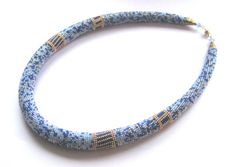 Beaded crochet necklace Egyptian night by DolgovaSvetlana on Etsy, $81.00