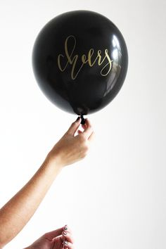 #Cheers #Black And #Gold #Calligraphy #Balloons
